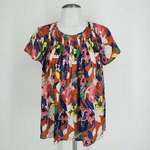 New Anthro Dolan Left Coast Pleated Top Floral